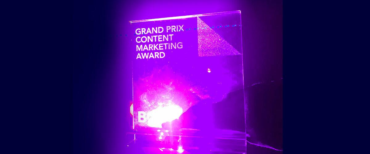 Grand Prix Content Marketing award 2019